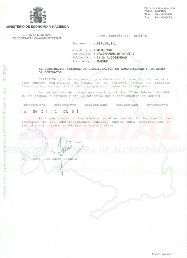Clasificacion Empresarial Hacienda Alta