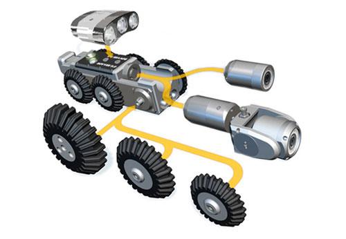 Vista de Robot con cámara de inspección de tuberías